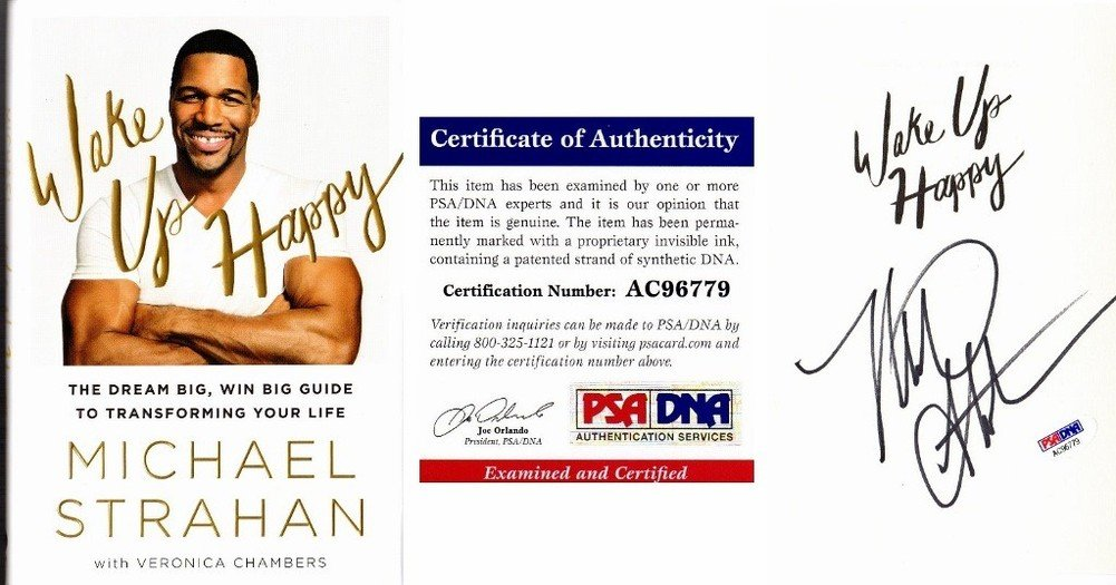 Michael Strahan Autographed Signed Wake Up Happy Hardcover Book with PSA/DNA Authentic New York Giants