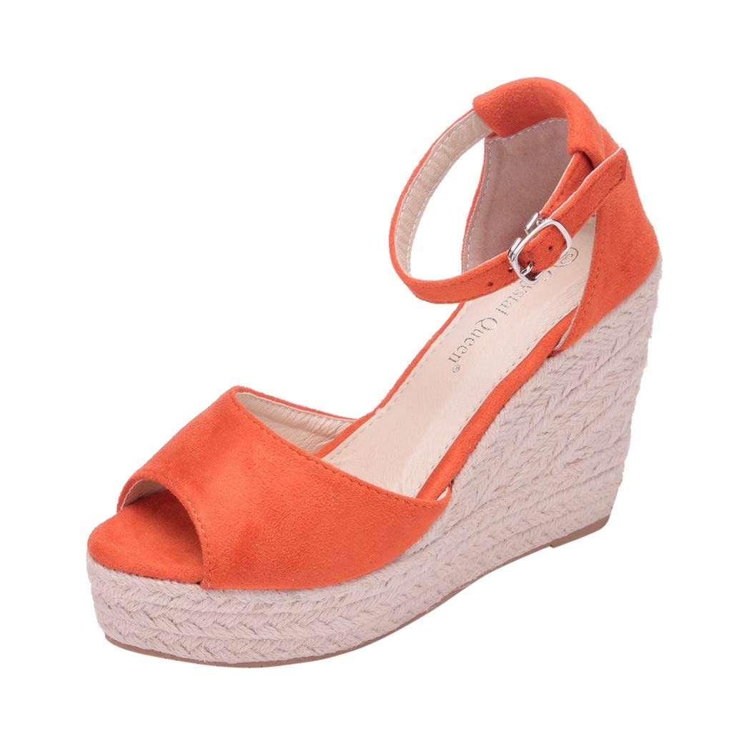 Wedge Sandals for Women,Summer Women Platform Shoes Ankle Strap Espadrille Wedge Heel Sandals (US:6, Orange) by Yihaojia Women Shoes (Image #1)