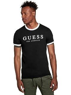 56b081fc0a GUESS Factory Men's Kirk Striped- Trim Logo Short Sleeve Tee