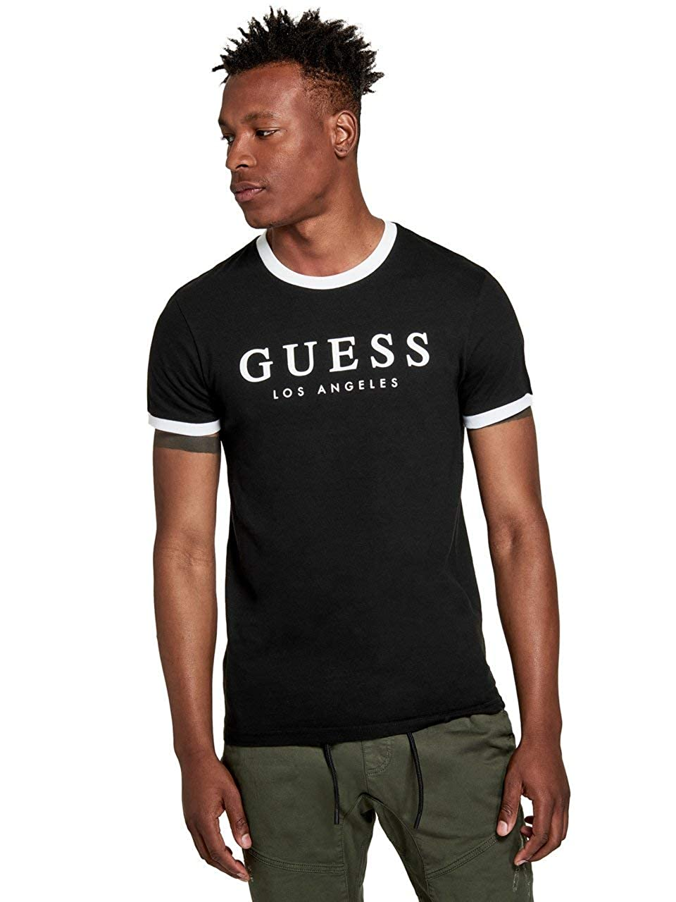 GUESS Factory Mens Kirk Striped Trim Logo Short Sleeve Tee