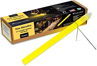 "product image for Cyalume Industrial Grade SnapLight Flare Alternative Chemical Light Sticks with Bipod Stand – Non-Flammable, Waterproof Light Stick, Provides 2 Hours of Bright Light – Yellow, 10"" Long (Pack of 10) (9-27030)"