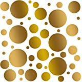 Set of 100 (Gold Metallic) Vinyl Wall Decals - Assorted Polka Dots Stickers - Removable Adhesive Safe on Smooth or Textured Walls - Round Circles - for Nursery, Kids Room, Bathroom Decor