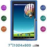 "Haehne 7"" Tablet PC, Google Android 6.0 Quad Core, 1G RAM 8GB ROM, Cámaras Duales 2.0MP + 0.3MP, 1024x600 HD Pantalla, WiFi, Bluetooth, Azul"