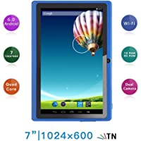 Haehne 7 Pollici Tablet PC, Google Android 6.0 Quad Core, 1GB RAM 8GB ROM, Doppia Fotocamera 2.0MP+0.3MP, 1024x600 HD Schermo, WiFi, Bluetooth, Blu