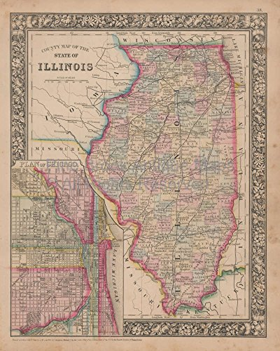 Chicago Illinois Vintage Map Authentic Home Decor History ...