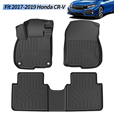OsoTorero TPE Floor Mats for 17-19 Honda CR-V, Custom Fit 2 Row Liner Set for 2020-2020 Honda CRV, 1st & 2nd Row Black All Weather Protection: Automotive