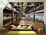 wall26 - abandoned old vehicle repair station - Removable Wall Mural | Self-adhesive Large Wallpaper - 100x144 inches