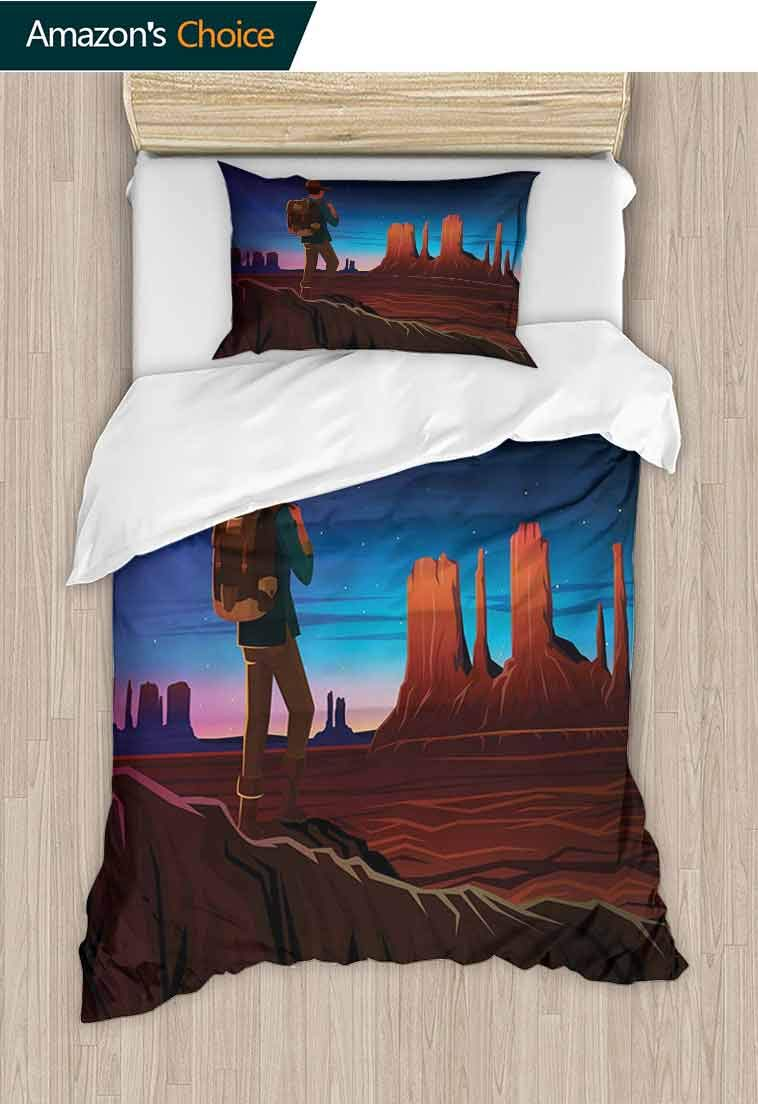 Southwestern Printed Duvet Cover and Pillowcase Set, Monument Alley with Early Daylight Tourist on a Hill Camping Traveling Cartoon, 2 Piece Bedding Quilt Coverlets - 100% Cotton Bed Quilts Coverlet