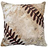 Sports Series Vintage Shabby Baseball Design Cotton Linen Home Throw Pillow Case Personalized Cushion Cover NEW Home Office Decorative Square 18 X 18 Inches