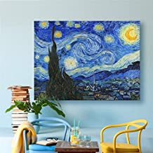 Starry Night by Vincent Van Gogh Canvas Art Wooden Framed Stretched and Wrapped Giclee Prints Modern Home Decor Wall Paintings for Living Room Oil Painting Reproduction Ready to Hang 12x16 inch