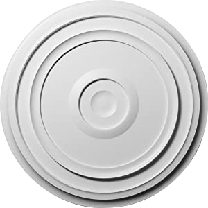 """Ekena Millwork CM24RE Traditional Reece Ceiling Medallion, 24 3/8""""OD x 1 1/8""""P (Fits Canopies up to 5 7/8""""), Factory Primed"""