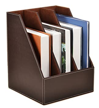 Vertical Wood Leather Magazine Holder Office Desk Organizer File Document  Tray Box Bookends Book Stand (