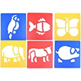 Hippocampus, octopus, crab, whale, lobster, carp LGEGE Assorted Colors Plastic marine animal painting Stencils for Kids Crafts