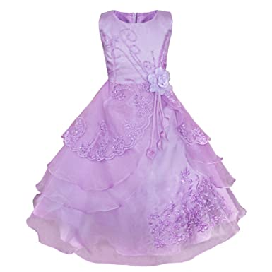 Princess skirt puff flower childrens clothing European root yarn embroidery Dingzhu childrens formal dress light purple