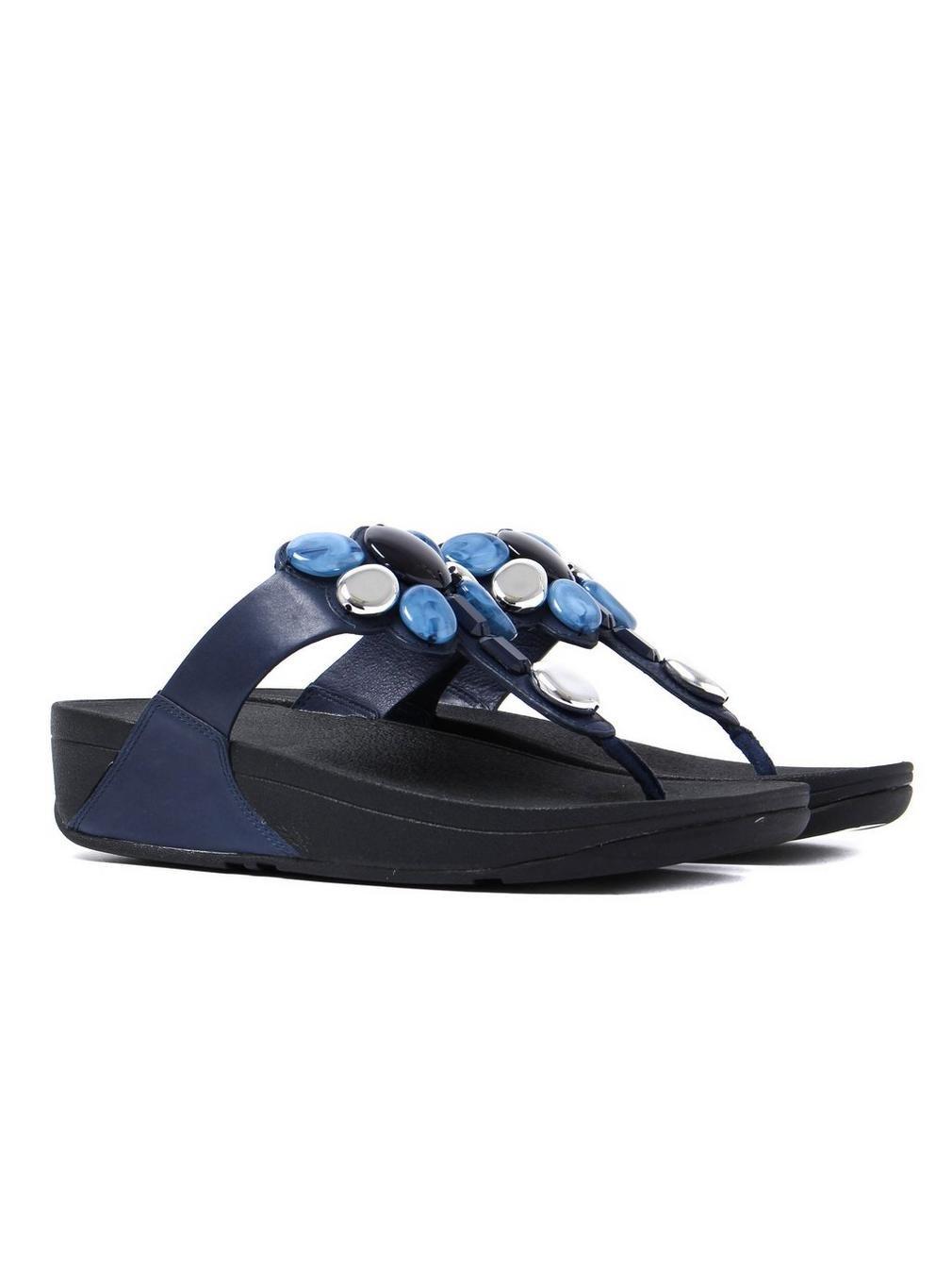 FitFlop Damen Honeybee Toe-Thong Zehentrenner, Schwarz Marineblau Marineblau Schwarz e0a00f