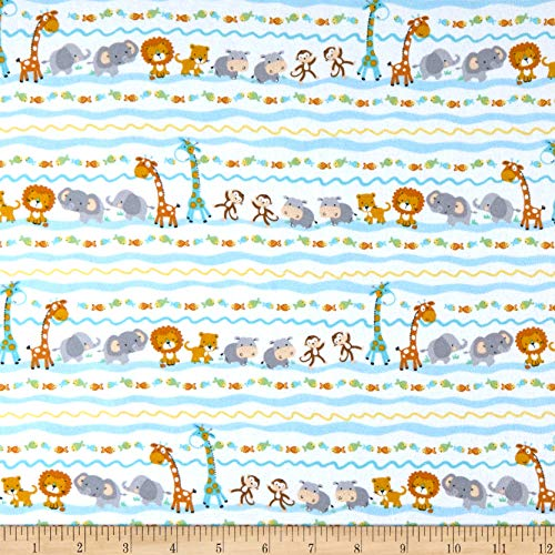 Timeless Treasures Flannel Ark Party Baby Animal Stripe Fabric, Foam, Fabric By The Yard