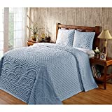 2pc 81 x 110 Pale Blue Oversized Chenille Bedspread Twin Floor Set, Hangs Down Side Bed Frame, Drops Drapes French Country Raised Pattern, Extra Long Bedding Chenile Xtra Wide, Cotton