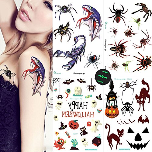 Tattoos Witch - Spider Temporary Tattoos for Women Girls, Scorption Tattoos 4 Sheets for Trick or Treat Bags for Children Birthday Party Favor Fall Festival, VIWIEU Glow in the Dark Waterproof Body Stickers