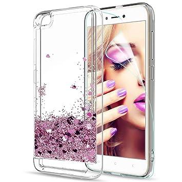 LeYi Funda Xiaomi Redmi 5A Silicona Purpurina Carcasa con HD Protectores de Pantalla,Transparente Cristal Bumper Telefono Gel TPU Fundas Case Cover ...