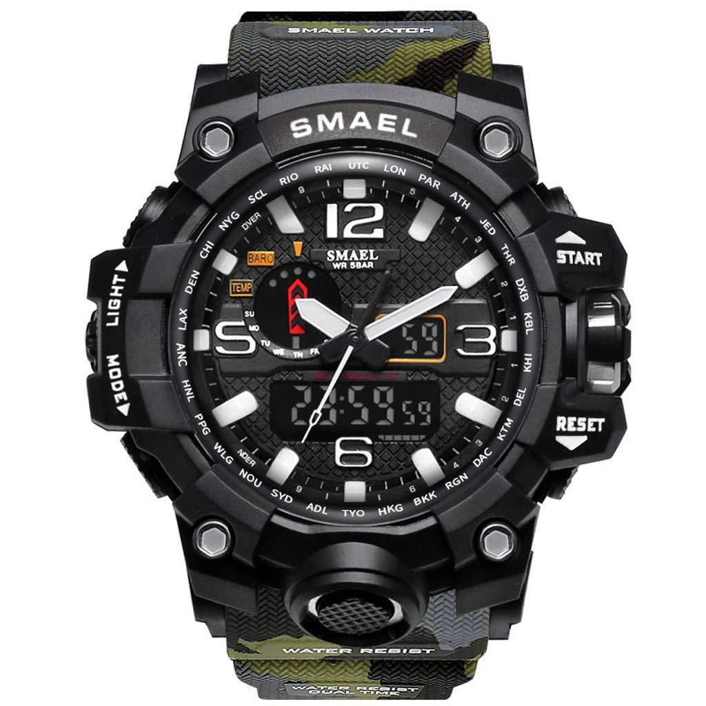 Winsummer Men Sports Watch Multi Function Military Watches Waterproof Date Quartz Large Wrist Watch for Men Army Green