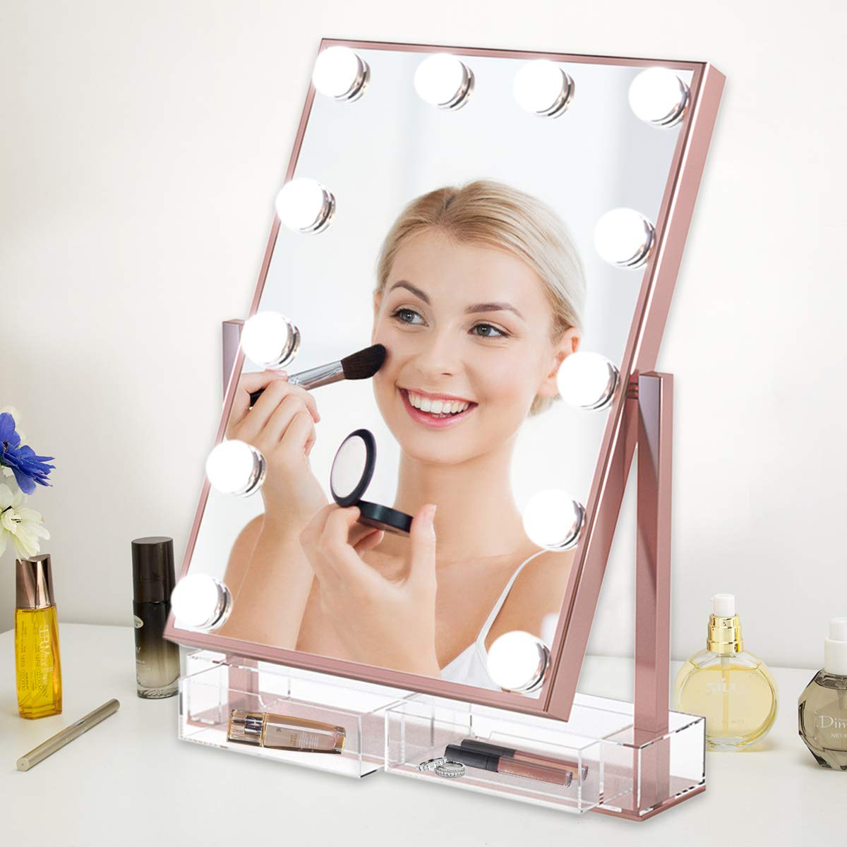 Lighted Makeup Mirror with Acrylic Comestic Organizer Dimmable LED Three Colors Light Bulbs Touch Control Design Free Roration