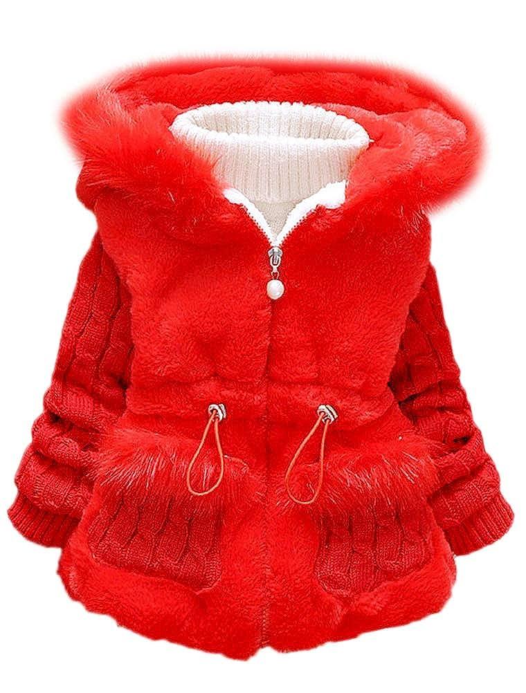 ARAUS Cappotto Bambina Invernale Autunno Giacca Pelliccia Mantello a Manica Lunga con Cappuccio 0-7 Anni