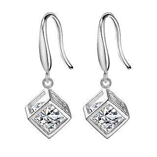 Fablcrew Love finestra orecchini argento cubo Eardrop cristallo gancio lungo Dangler gioielli regalo di compleanno