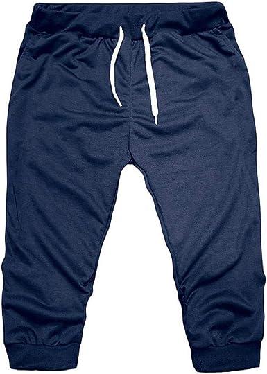 Pantalones 3/4 Hombre Verano 2019 Nuevo SHOBDW Tallas Grandes Pack Pantalones Cortos Hombre Cordón Elástico Cómodo Suelto Bolsillos Casual Pantalones ...