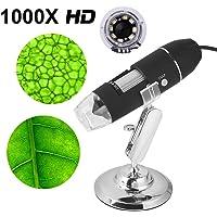 Microscopio endoscopio digital,1000x microscopio usb portatil con PC Video mini cámara 8 LED y metal soporte