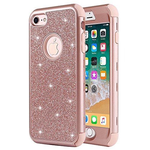 iPhone 8 Case, iPhone 7 Case, Anuck Heavy Duty iPhone 8 Shockproof Protective Case [Sparkly Glitter Texture] 3 in 1 Hybrid Armor Defender Cover Case for Apple iPhone 7 & iPhone 8 4.7 inch - Rose Gold