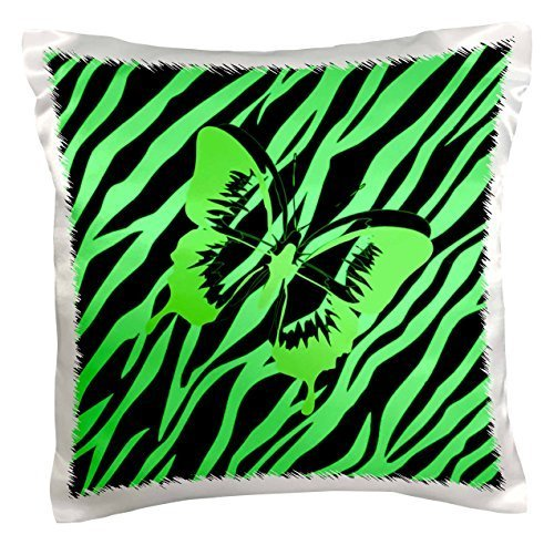 pc_62047_1 Lime Green Butterfly On Lime Zebra-Pillow Case, 16 by 16