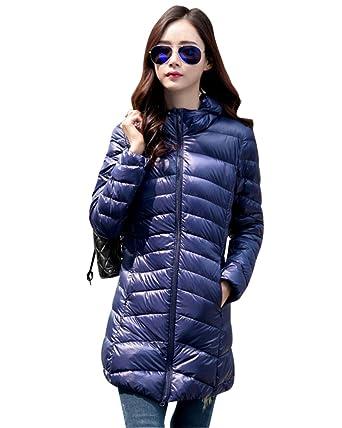 ZhuiKun Chaqueta Largas Abrigo de Plumas Invierno Parka con Capucha para Mujer