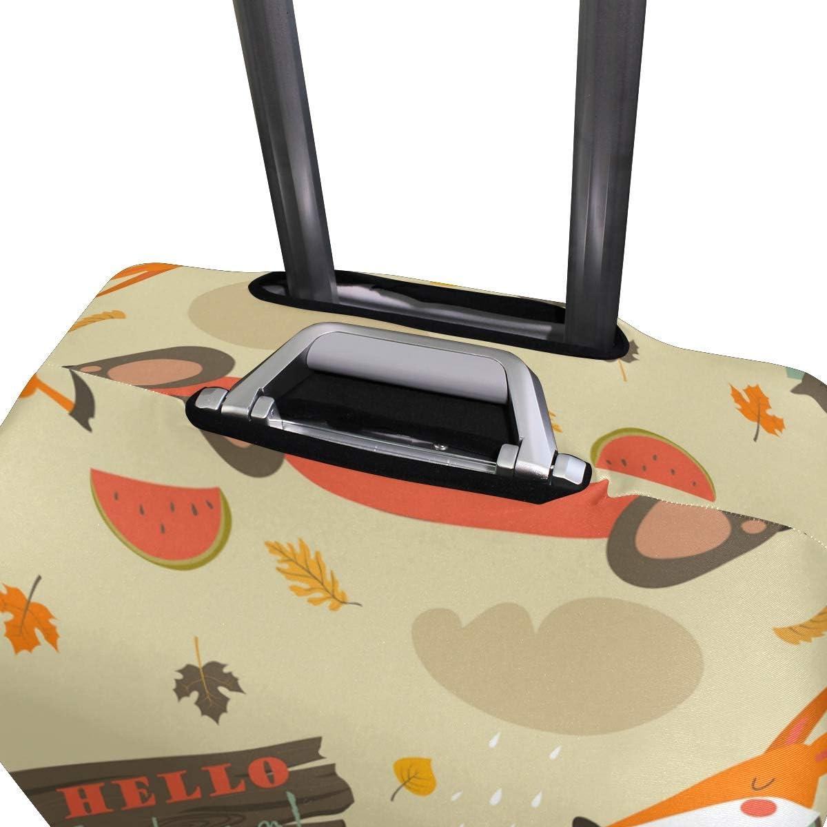 FANTAZIO Cartoon Animal Fox Bear And Owl Suitcase Protective Cover Luggage Cover