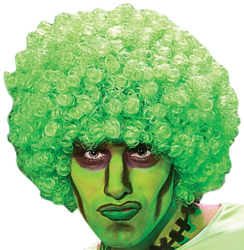 Neon Clown Orange Afro Wig - Rubie's Afro Rave Neon Wig, Green,