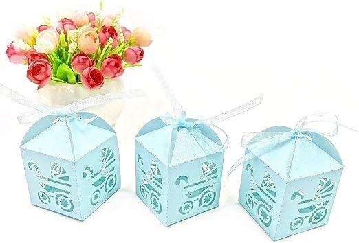JZK 48 x Azul Cochecito de bebé Papel Perlado Cajas de Dulces a ...