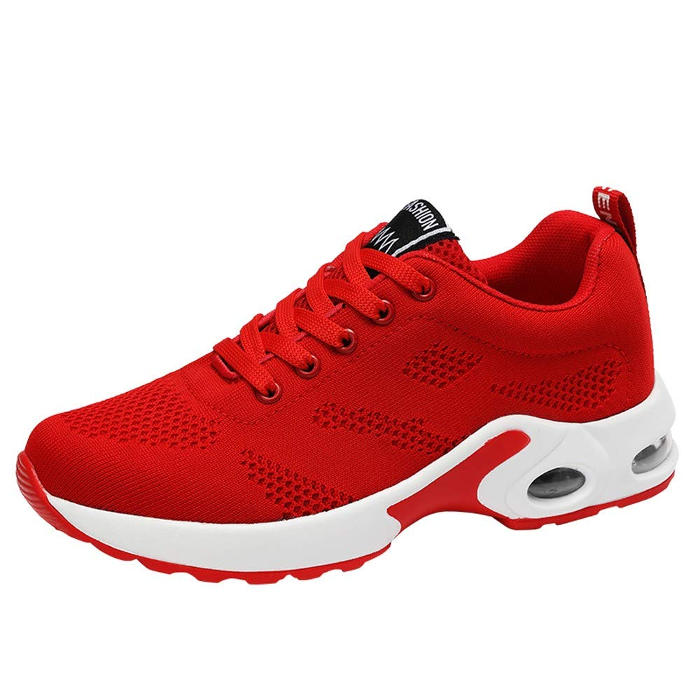 Kauneus  Women's Casual Walking Shoes Breathable Mesh Work Slip-on Sneakers Red