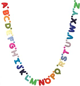 Glaciart One Alphabet Garland - Natural Handmade Wool ABC Letters & Balls - Decorative Wall Decor for Classroom, Playroom, Nursery, Baby, Toddler's Room - Ready-to-Hang Art - 7Ft, Rainbow-Colored
