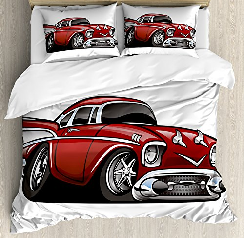 Lunarable Nursery Duvet Cover Set, Classic Vintage American Muscle Car Old Fashion Famous Graphic Print, Decorative 3 Piece Bedding Set with 2 Pillow Shams, Queen Size, Grey Ruby