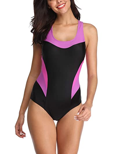 c34cb22f67 Amazon.com: UR MAX BEAUTY Women's One Piece Athletic Swimwear Color Block  Splice Swimsuit,1,XL: Home & Kitchen