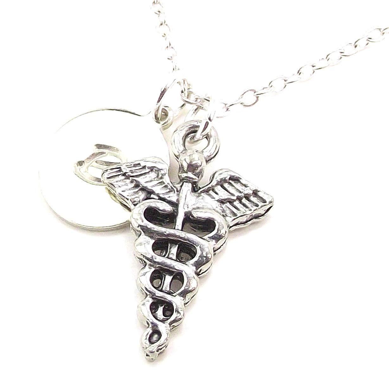LaFenne Personalized Caduceus Pendant Necklace Custom Alphabet Initial Charm Customized Medical Symbol Gift