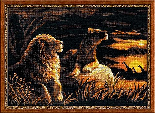 RIOLIS 14 Count Lions in The Savannah Counted Cross Stitch K