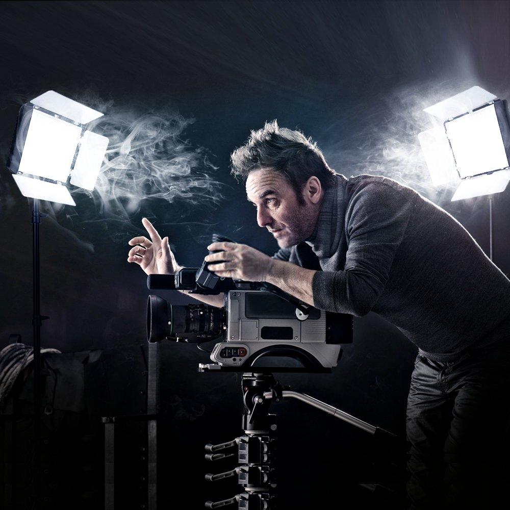 SAMTIAN LED Video Light 600 LED Camera Studio Light Kit CRI95 3200K 5600K Camcorder Light Kit with Barndoors 75 Inches Light Stand Batteries and Remote Camera Photo Light for Studio Photography, Video by SAMTIAN (Image #8)