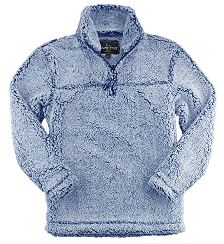(Boxercraft Adult Super Soft 1/4 Zip Sherpa Pullover-Vintage Navy-small)