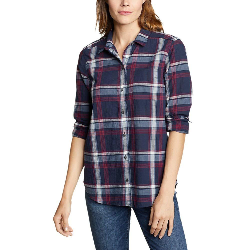 Eddie Bauer Women's Boyfriend Packable Shirt, Dk Navy Petite L by Eddie Bauer