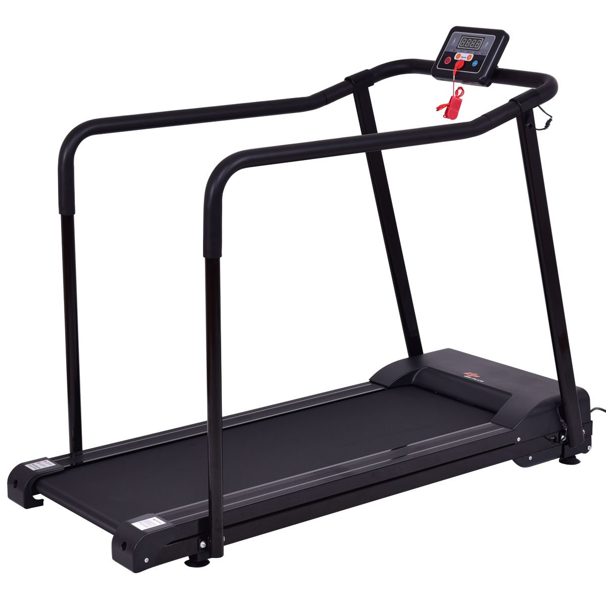 Goplus Electric Treadmill Walking Jogging Machine for Seniors Elders 0.6-4 MPH Adjustable Speed W/Extra-Long Handles
