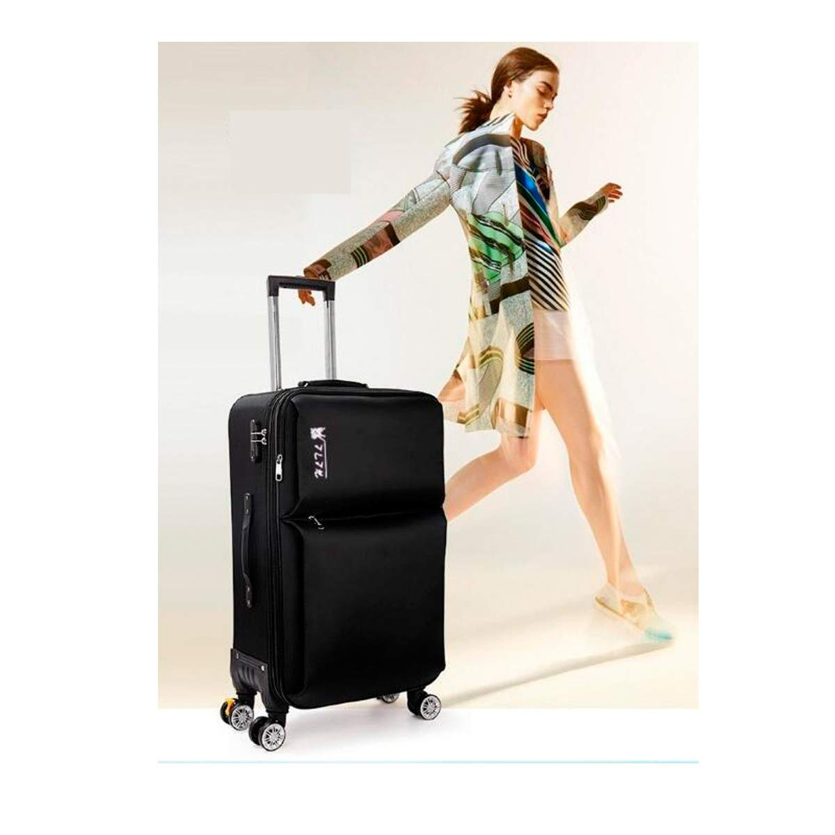Color : Black, Size : 20 Best Gift Huijunwenti Soft Rotating Luggage Simple Purple The Latest Style Travel Organizer 20//22//24 Trolley Case Carrying Case