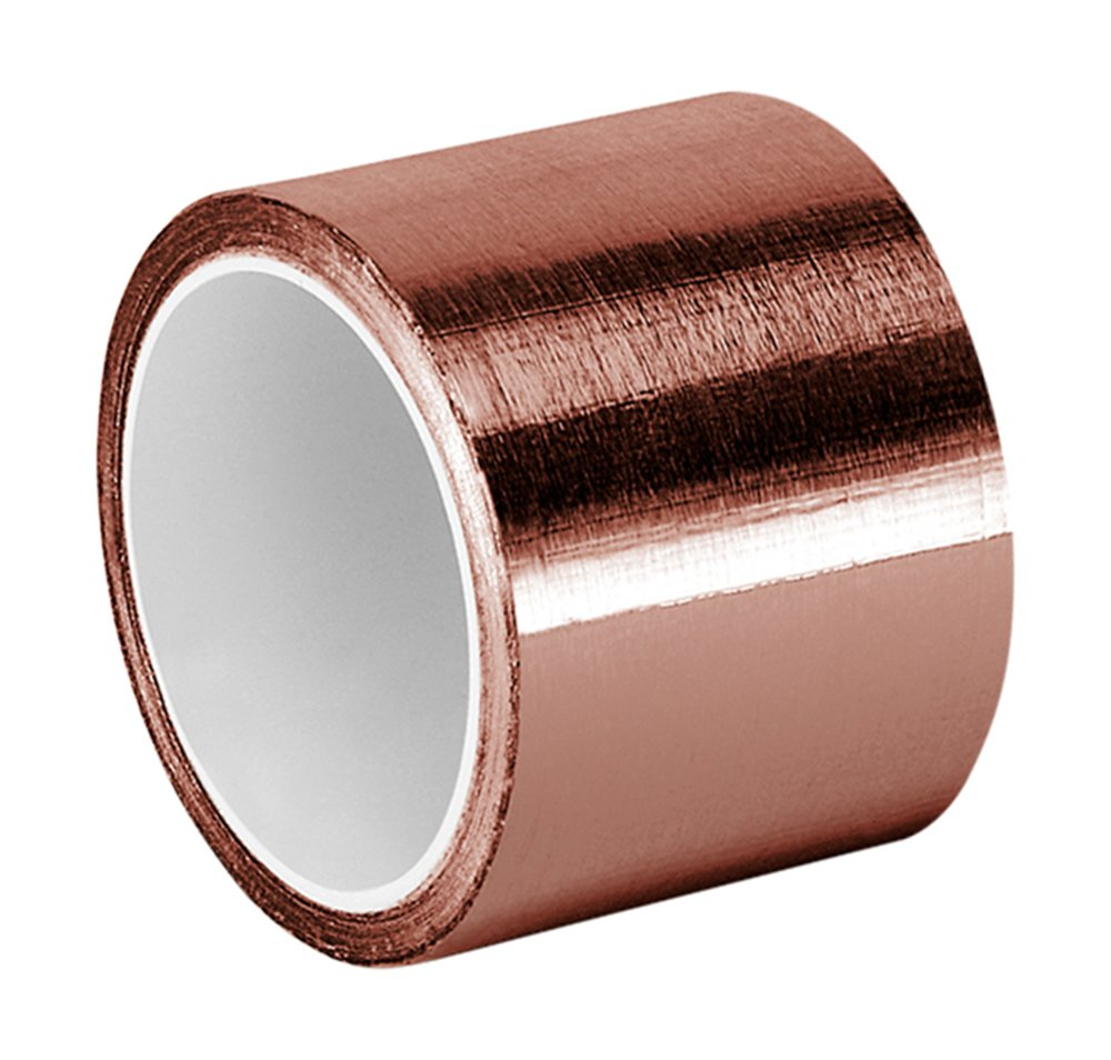 TapeCase Copper Foil Tape with Acrylic Adhesive, Converted from 3M 1125, 6 yd Length, 2'' Width, Roll