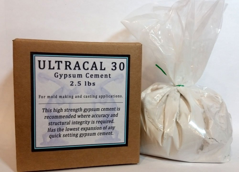 Ultracal 30 Gypsum Cement 2.5 lbs / 1.13 kg - Plaster - For Mold Making and Casting, Ideal for Latex Molds! Takes Excellent Detail