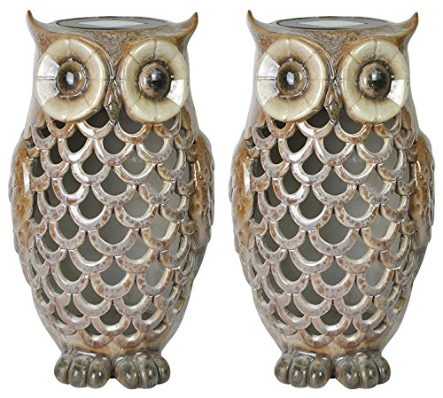 2-Pack - Moonrays 91581 Solar Powered Brown Owl with White LED Light