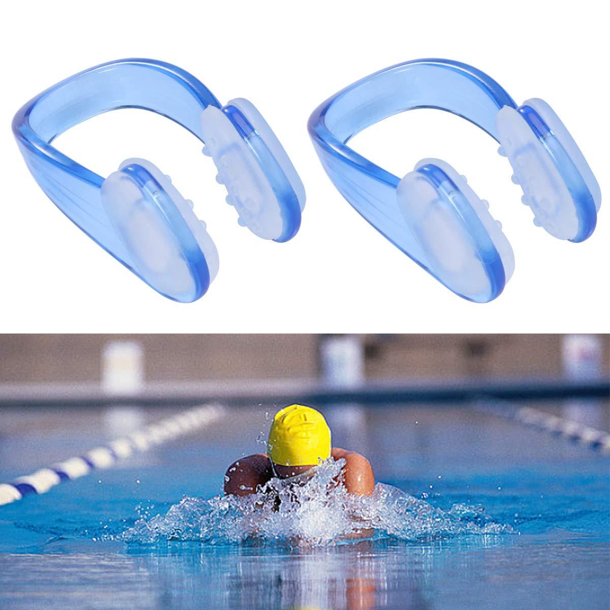 Azul LIOOBO 2pcs Pinzas de Nariz Clips de Nariz de Nataci/ón de Silicona a Prueba de Agua Protector de Nariz de Nataci/ón para ni/ños
